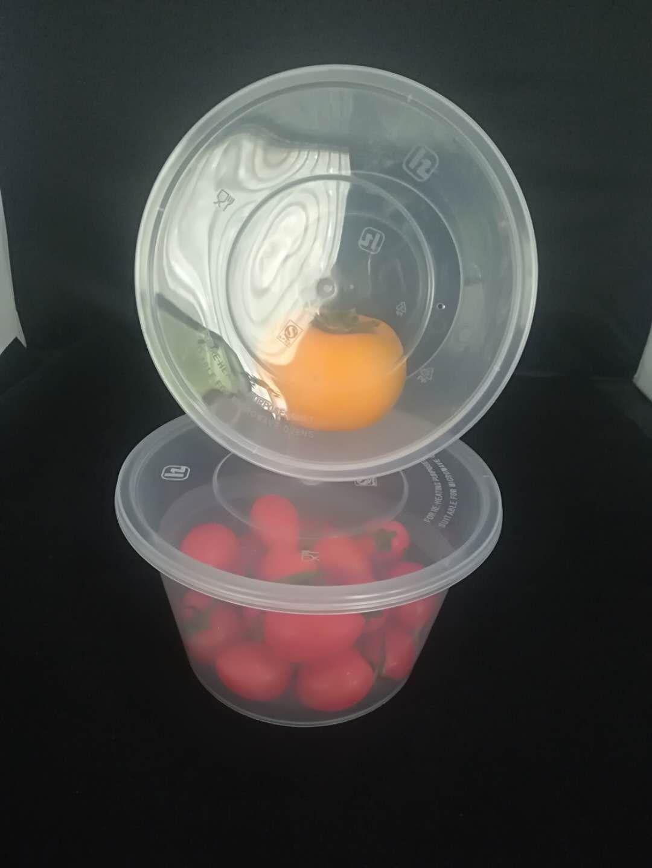 鸿泽加厚圆形透明1000ML一次性塑料餐盒外卖打包不漏汤